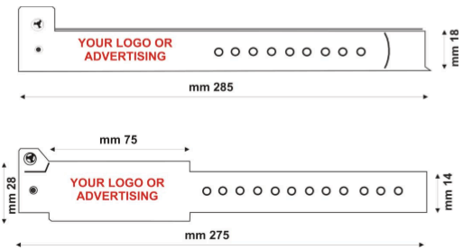 VINYL WRISTBANDS - TECHNICAL DRAWING