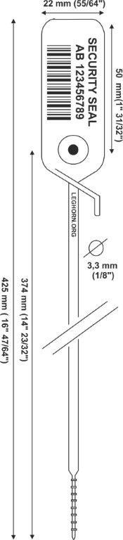 juppiter Adjustable security seal 3,3x425 mm e pollici