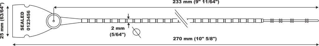 scite seal LGH 103-2x270 Gambo a palline e chiusura in metallo.